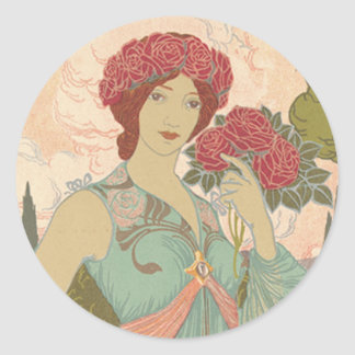 Art Nouveau Lady with Roses Round Sticker