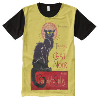 Art Nouveau Le Chat Noir Black Cat All-Over Print T-Shirt