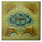 Art Nouveau Lotus Repro of Glazed Antique Tile