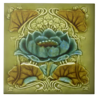 Art Nouveau Lotus Repro of Glazed Antique Tile