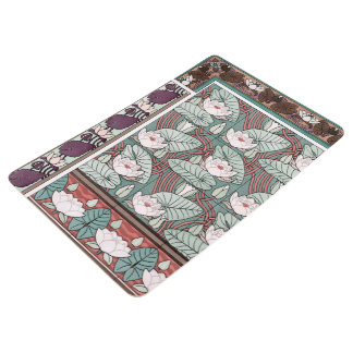 Art Nouveau Lotus Waterlily Flowers Floor Mat