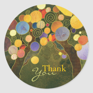 Art Nouveau Love Trees Wedding Thank You Classic Round Sticker