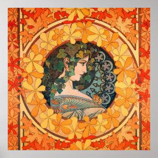 Art Nouveau Lovely Autumnal Maiden Poster