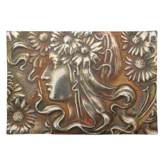 Art Nouveau Maiden Silver Repousse Fabric Print Placemat