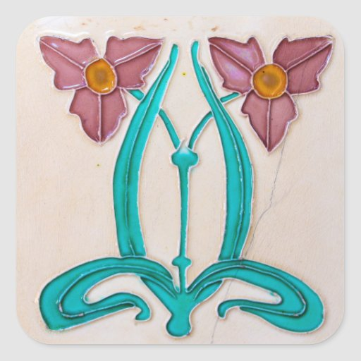 Art Nouveau Majolica Tile Sticker