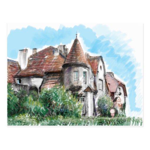 Art nouveau mansion post card