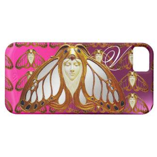 ART NOUVEAU MOTH WOMAN GEM MONOGRAM PINK PURPLE CASE FOR THE iPhone 5