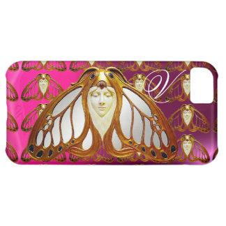 ART NOUVEAU MOTH WOMAN GEM MONOGRAM PINK PURPLE iPhone 5C CASE