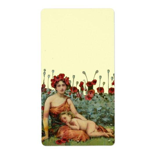 Art Nouveau Mother and Child with Poppies