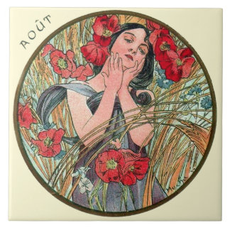 Art Nouveau Mucha Calendar August Large Square Tile