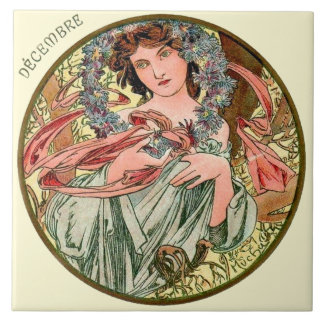 Art Nouveau Mucha Calendar December Large Square Tile