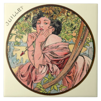Art Nouveau Mucha Calendar July Large Square Tile
