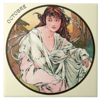Art Nouveau Mucha Calendar October Large Square Tile