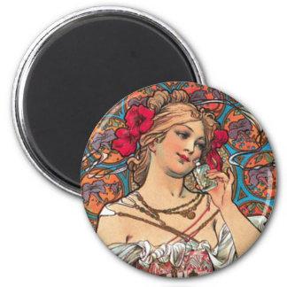Art Nouveau - Mucha - Perfume Ad 6 Cm Round Magnet