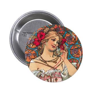 Art Nouveau - Mucha - Perfume Ad Pins