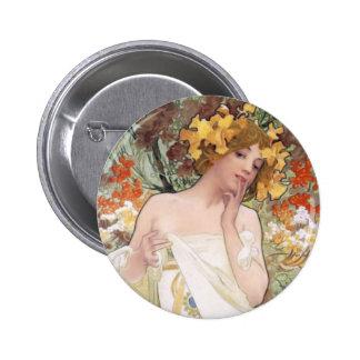 Art Nouveau - Mucha - Perfume Ad Pinback Button