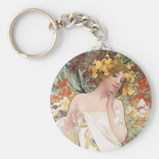 Art Nouveau - Mucha - Perfume Ad Basic Round Button Key Ring