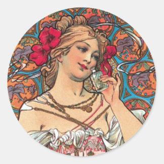 Art Nouveau - Mucha - Perfume Ad Round Sticker