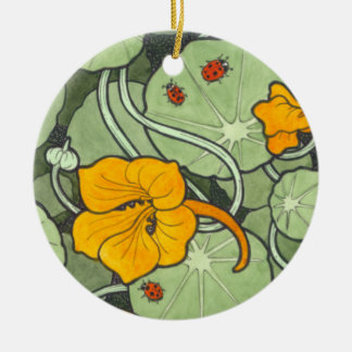 Art Nouveau Nasturtium & Ladybird Round Ceramic Decoration