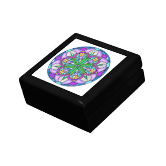 Art Nouveau Orchid Circle Stained Glass Gift Box
