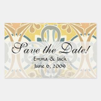art nouveau ornate geometric pattern rectangular sticker