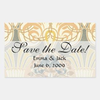 art nouveau ornate royale design rectangular stickers
