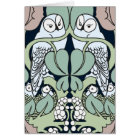Art Nouveau Owl Nest Happy Anniversary Cards