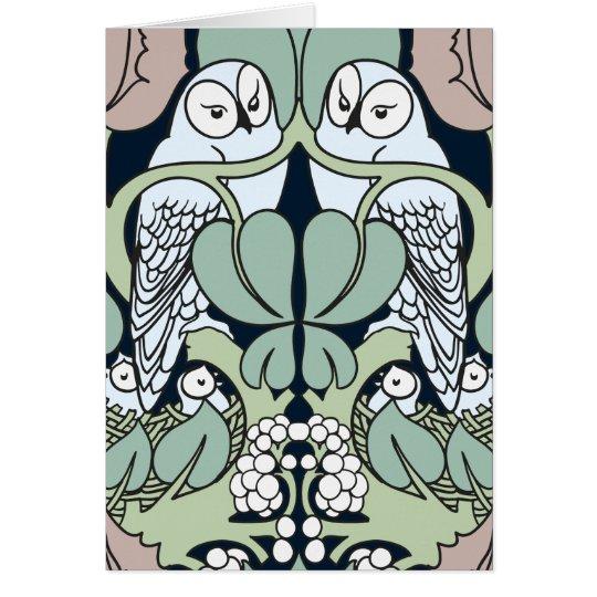 Art Nouveau Owl Nest Happy Anniversary Cards