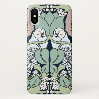 Art Nouveau Owls Nest Pattern iPhone X Case