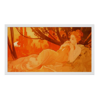 Art Nouveau painting inspired by Mucha Posters