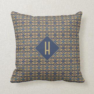 Art Nouveau Pattern Blue Gold Monogram Floral Cushion