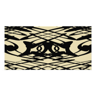 Art Nouveau Pattern in Beige and Black Personalized Photo Card