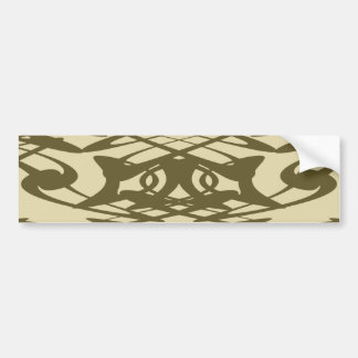 Art Nouveau Pattern in Beige and Brown. Bumper Sticker