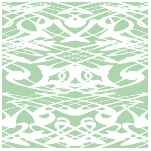 Art Nouveau Pattern in Light Green and White. Cut Out