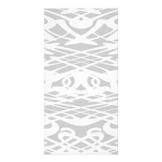 Art Nouveau Pattern in Pale Gray and White Personalized Photo Card