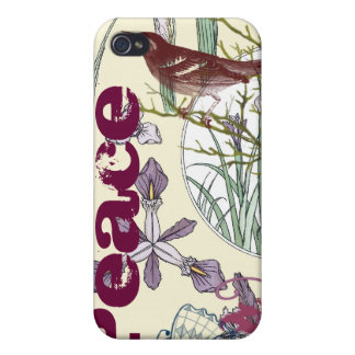 Art Nouveau Peace Butterfly Bird Flower iPhone Covers For iPhone 4