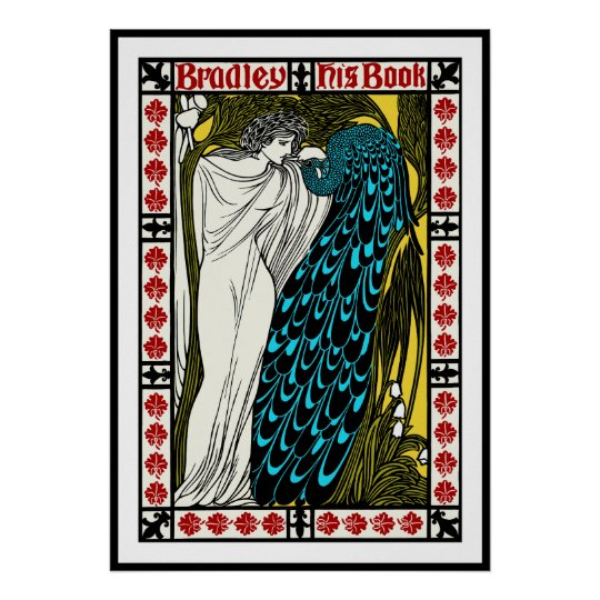 Art Nouveau Peacock Poster by Will H. Bradley
