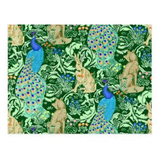 Art Nouveau Peacock Print, Cobalt Blue & Green Postcard