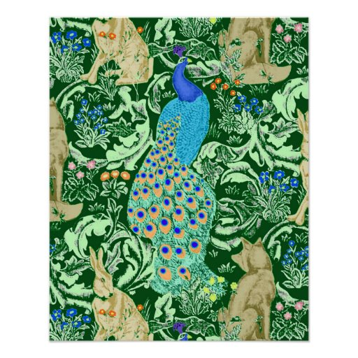 Art Nouveau Peacock Print, Forest Green Poster