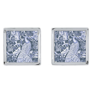 Art Nouveau Peacock Print, Navy and White Silver Finish Cuff Links