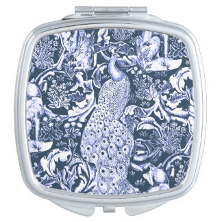 Art Nouveau Peacock Print, Navy and White Vanity Mirrors