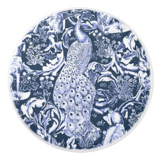 Art Nouveau Peacock Print, Navy Blue and White Ceramic Knob