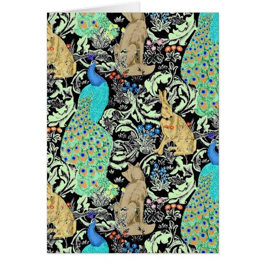 Art Nouveau Peacock Print, Turquoise & Neutrals Card