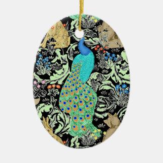 Art Nouveau Peacock Print, Turquoise & Neutrals Christmas Ornament