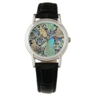 Art Nouveau Peacock Print, Turquoise & Neutrals Wristwatches