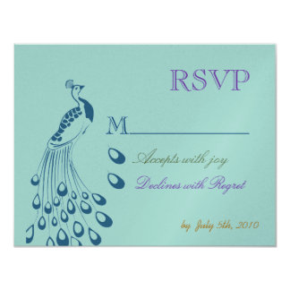 Art Nouveau Peacock RSVP 11 Cm X 14 Cm Invitation Card