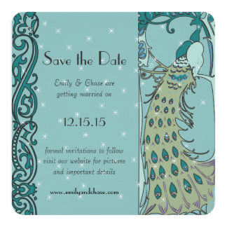Art Nouveau Peacock  Save the Date Invitations