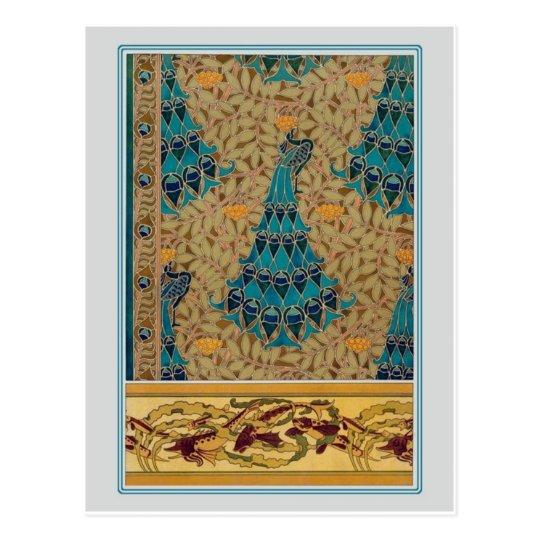 Art Nouveau Peacocks Postcard