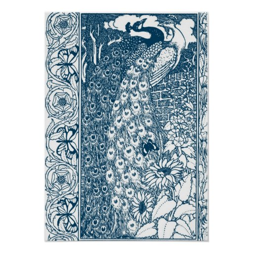 Art Nouveau Peacocks Poster