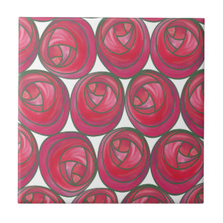 Art Nouveau Pink & Red Roses Geometric Pattern Tile